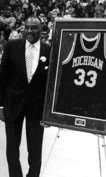Cazzie has his jersey number retired in 1993, the first Michigan player to receive that honor.